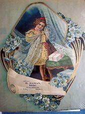 Large Victorian Trade Card for H.R. Raman, Butcher w/ Girl In Yellow Dress *