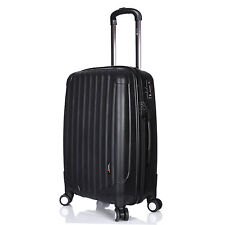 "Luggage X 70cm (28"") Suitcase Large Lightweight Hard Sided Black 4 Double Wheels"