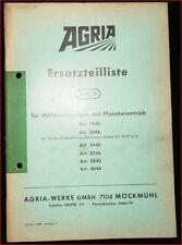 Agria Ersatzteilliste für Mäheinrichtungen mit Planetenantrieb 1946 2046 2446 ..