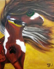 """Native American Indian Horse artist signed oil painting 11"""" x 14"""" small US"""