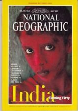 National Geographic: 1997 May India turns 50 MAP OF INDIA with Afghanistan