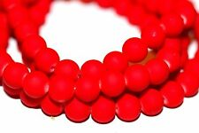 100pc 8mm Red Loose Beads- Rubberized Glass beads 1-3 day Shipping