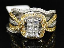 14K White Gold Yellow Canary Diamond Engagement Wedding Band Bridal 3 Ring Set