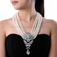 Attractive White Pearl Glass Beads Layered Chunk Bib Choker Pendant Necklace