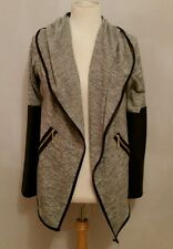 waterfall grey jersey cardigan with faux leather long sleeves
