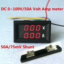 "2 in 1 DC Volt Amp Meter 0.28"" DC 0-100V/50A Red display With Ampere 50A Shunt"