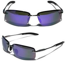 Rectangle Rimless Black Metal Frame Aviator Sunglasses Purple Mirror lens