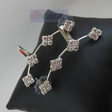 Beautiful Stylish Fashion Latest Square Design Silver Ear Cuff Pair Earrings