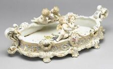 NEW BEAUTIFUL MEISSEN STYLE PORCELAIN CHERUB ANGELS W/ ROSE OVAL TRAY STAMP
