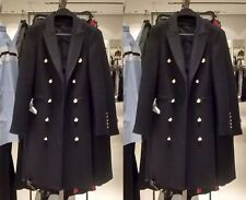 ZARA Long Crossover Wool Coat Black Military Style Gold Buttons Large L