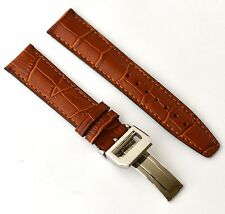 IWC 22mm Brown genuine leather Band Strap Alligator-Style w/deployant Clasp