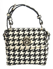 NWT Karen Millen Black Cream Houndstooth Calf Hair Small Box Bag