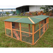 "New Right Angle 98"" Chicken Coop Rabbit Hutch Small Animal Cage w Run"