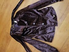 Miss Sixty Deep Purple Velvet Military Style Smart Jacket Top with a Bow Medium