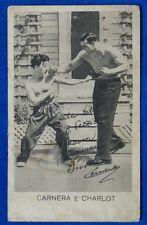 PRIMO CARNERA E CHARLOT   viaggiata 1931  f/p retro pubblicità VOV Pezziol#10363