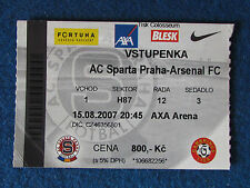 Sparta Prague (Praha) v Arsenal - 15/8/2007 - Champions League Ticket