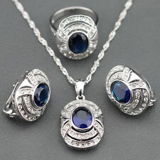 Elegant Style SET 925 Sterling Silver Radium Blue Sapphire Ring Earring Necklace