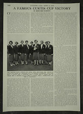 Golf British Curtis Cup Victory At Princes Sandwich 1956 1 Page Photo Article