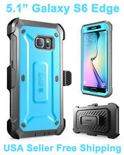 Genuine 100% Original SUPCASE Galaxy S6 Edge Full Body Rugged Holster Case Blue