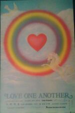 "1979 vintage original""Love One Another"" poster Unicorn valentines unused mint"