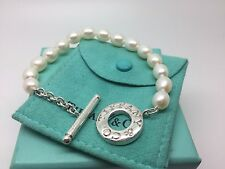 Tiffany & Co Sterling Silver Pearl Toggle Bracelet 7' Inch Pouch Box