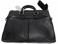 Perry Ellis Portfolio Men's Zip-Top Genuine Leather Briefcase Black One Size