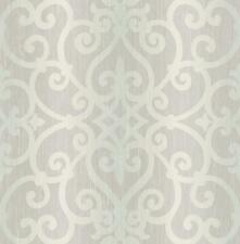 Wallpaper Designer Lavender Gray Aqua Ombre Stripe with Scroll Trellis Lattice