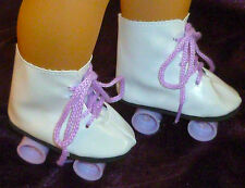 "WHITE PURPLE ROLLER SKATES SKATING SHOE Fits 18"" American Girl Doll Accessories"
