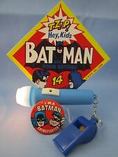 VINTAGE 1966 BATMAN SUPERHERO TOY COLLECTION - PINBACK, FLASHLIGHT & WHISTLE ! !