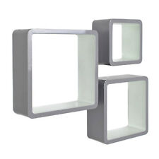 Set of 3 cube shelves in grey and white – retro design – wall mounted