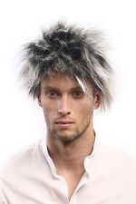 Wig Unisex Carnival 1980s Wave Punk Popstar Black White Blonde Backcombs