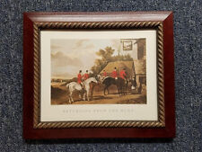 English Fox Hunt Scene Returning from the Hunt Cherry Stain Wood Gold Rope Frame