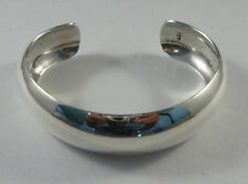"925 sterling silver domed cuff bracelet with smooth finish 3/4"" wide"