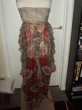 MISS SELFRIDGE WHITE/BROWN/RED FLORAL/ANIMAL PRINT SHEER MAXI DRESS - Size S