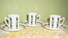 Vintage 50s 60s Cup & Saucer X3 Green & Black Check Atomic Midcentury Modern