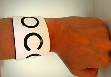 Authentic Chanel Wide Bangle Cuff Bracelet Black White Plastic COCO CC Logo 5.5""