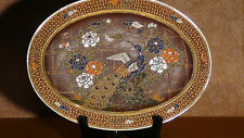 VINTAGE JAPANESE OVAL HAND PAINTED GOLD RELIEF PEACKOK SATSUMA CHARGER,PLATE.