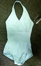 Body Wrappers P802 Women's Large Soft Blue Ribbed Halter Leotard