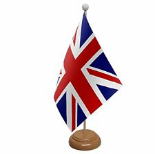 "UNION JACK TABLE FLAG 9""X6""  WITH WOODEN BASE Great Britain UK FLAGS"