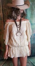 COWGIRL gYPSY cREAM LACE Country  CROCHETED Peasant top blouse NWT SMALL