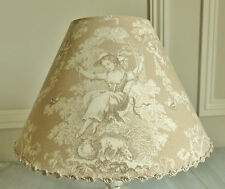 LOVELY FRENCH TOILE DE JOUY LAMPSHADE 20 X 30 CM OLIVIER THEVENON LUDIVINE BEIGE