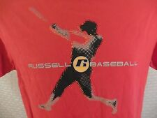 Vtg 80s RUSSELL Baseball T-Shirt MEDIUM (tag says xl) Red 100% Cotton Athletic