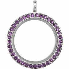 ORIGAMI OWL AMETHYST PURPLE SWAROVSKI CRYSTAL LARGE TWIST FACE and Base RETIRED