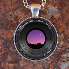 1pcs Camera Lens Cabochon Tibetan silver Glass Chain Pendant Necklace
