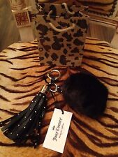 BNWT JUICY COUTURE BLACK FUR POM POM & TASSEL KEY RING OR BAG CHARM & GIFT BAG