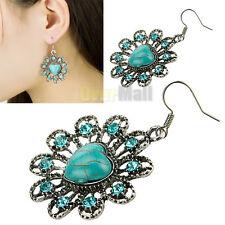 Women Heart Shape Vintage Sapphire Crystal Stone Earhook Eardrop Dangle Earrings
