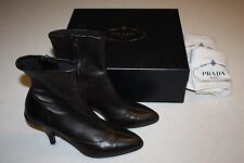 "Prada ""Nappa Stretch"" Soft Brown Leather Ankle Boots Women Size 40, EUC w/ Box"