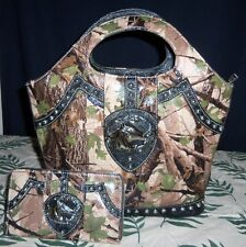MONTANA WEST CAMO CAMOUFLAGE HOBO BAG PURSE HORSE MEDALLION & MATCHING WALLET