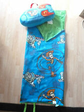DISNEY TOY STORY BUZZ & WOODY ROLL UP SLEEPING BAG & ROCKET SHIP PILLOW