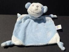 Piccolo Bambino light blue/white monkey Baby Security Blanket toy knot corners